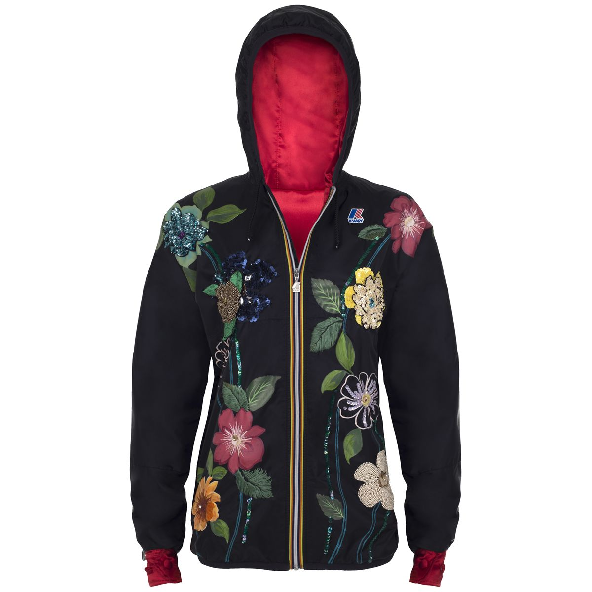 Giubbotto impermeabile K-way donna REMIX CLAUDETTE PAINTED FLOWER-K0067Q0